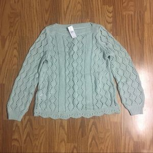 LOFT mint scalloped pointelle knit sweater